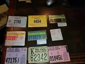 9 Assorted Used Pa Deer Hunting Archery Fishing Licenses 1961 amp; up