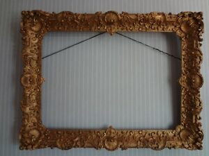 19th Antique VICTORIAN Era Museum CARVED WOOD Gold FLOWER GESSO Painting FRAME $999.00