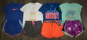 Lot 8 Girl's UNDER ARMOUR NIKE Shorts Shirts Sets 2 New 6 Used Youth Large YLG