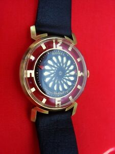 FASCINATING MOTION VTG ERNEST BOREL SKELETON Kaleidoscope Cocktail men's watch