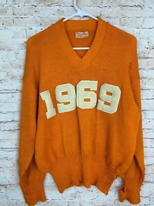 University Of Tennessee 1969 VTG Orange Knit Sweater By Athletic House Inc Sz 46