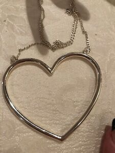 "STERLING SILVER XL Heart Necklace 16 Grams 21"" 16 Grams Beautiful Statement!"