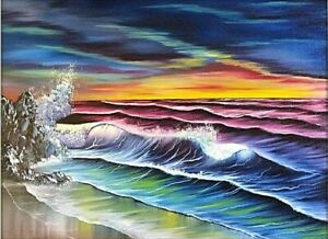 Original Signed and Dated Seascape Oil Painting Art 18x24 Canvas Bob Ross Style $150.00
