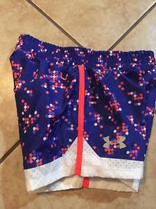 Girls Under Armour Shorts Blue And Coral Print Size 6 NWT $10.99
