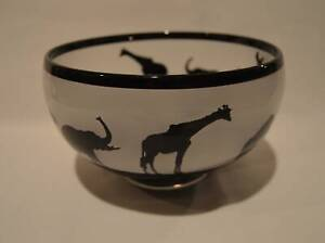 Correia Glass Black & Frosted White Safari Animals Bowl 8461 Signed Dated 2001