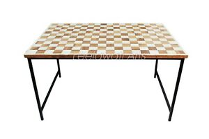 Handmade Bone Inlay Chess Design Antique Coffee Table With Iron Legs