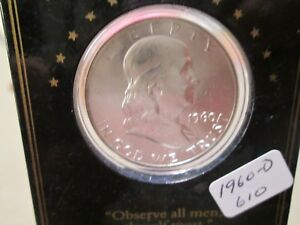 1960 D FRANKLIN HALF VINTAGE HOLDER GEM BU 610 $18.04