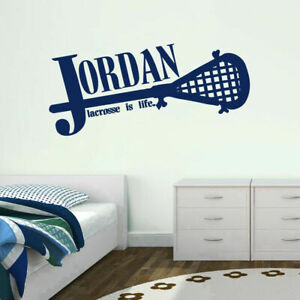 Custom Lacrosse Name Wall Decal Personalized Sports Kids Teens Man Cave