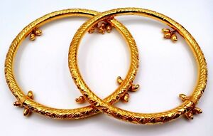 GOLD ANKLET 22K GOLD HANDMADE KADA BANGLE DETAILED DESIGN ANKLET TRIBAL JEWELRY