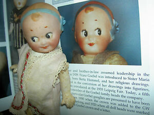Wonderful rare GOEBEL Germany antique bisque GOOGLY doll ~molded hair ribbon