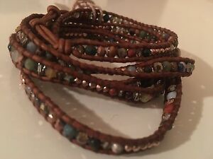 Chan Luu NWT 5 wrap Sterling silver brown leather adj bracelet W mix color bead