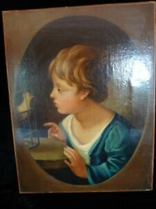 Antique 19thC Victorian oil painting on canvas