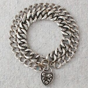 Antique Victorian Sterling Silver Heart Lock Charm Double Link Chain Bracelet
