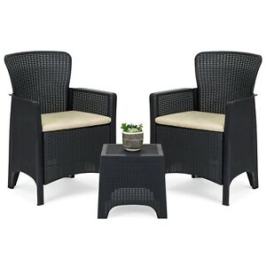 Patio Bistro  3-Piece Weather Resistant Conversation Furniture Set w Side Table
