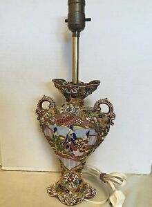 Antique Satsuma Table Lamp Vase