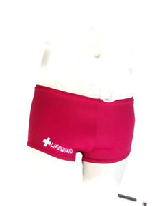 LIFEGUARD RED Low Rise Boxer Cut Swimwear by Over Easy Down Under Large D10 $32.95