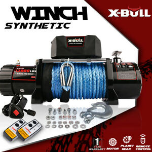 X-BULL Electric Winch 12000lbs 12V Synthetic Rope 2 Remote Control 4WD New Model