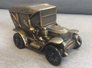 1910 Stanley Antique Car Metal Coin Bank With Union National Mount Joy Bank Ad $35.00