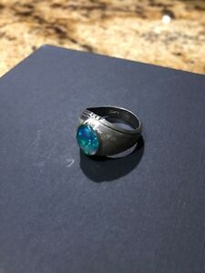 Black Fire Opal Mens Ring 9.5 Sterling Silver 925