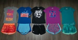 Lot 10 Girl's UNDER ARMOUR NIKE Shorts Shirts Sets 2 New 8 Used Youth Small YSM