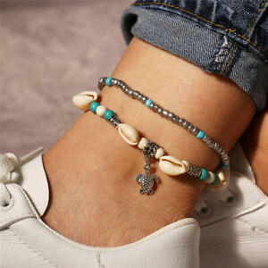 Boho Shell Beads Turquoise Anklets For Women Layer Anklet Leg Bracelet Jewelry