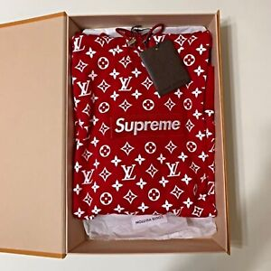 Supreme Louis Vuitton LV Box Logo Hooded Sweatshirt Size S 100% Authentic JAPAN