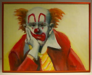 White Face Clown w Yellow Tie by Bill Crowley orig. acrylic on framed canvas