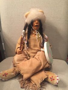 June Goodnow Early NIADA Artist OOAK Fimo Indian Doll Horse Drummer Signed