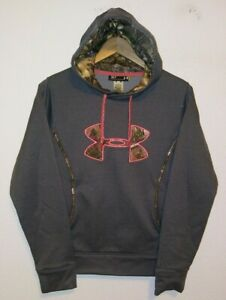 Women's UNDER ARMOUR UA Storm Camo Hoodie Sweatshirt Gray Pink Small Semi Fitted
