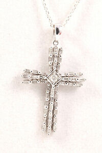 Ladies 10K White Gold Diamond Jesus Cross Pendant Necklace 18