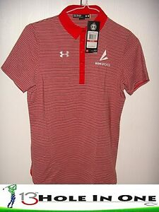 Under Armour Women's Golf Shirt Short Sleeve Size XS Red Striped Nice Polyester $22.99