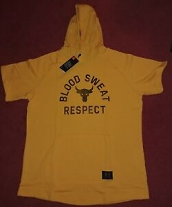 Under Armour x Project Rock Hoodie Blood Sweat Respect Short Sleeve XL