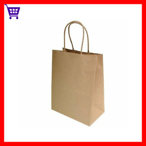 50 Pcs Large Brown Paper Retail Shopping Bags Kraft With Rope Handles Durable