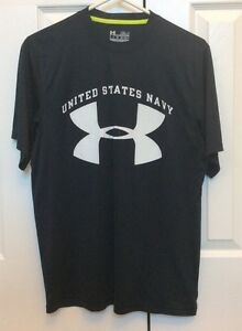 Mens United States Navy Under Armour T Shirt Heat Gear Loose Fit Small $14.00