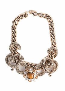 Roberto Cavalli Womens Gold Plated Serpent Flower Stone Necklace~RTL$3000