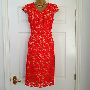 New Kaleidoscope Red Nude Crochet Lace Occasion Dress Wedding Party Prom Sz 12