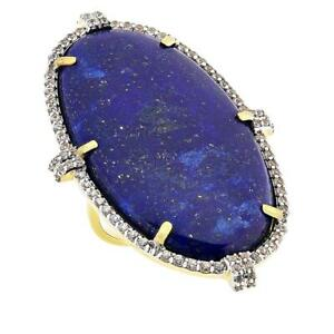 Rarities Gold Plated Sterling Silver Lapis and White Zircon Oval Ring