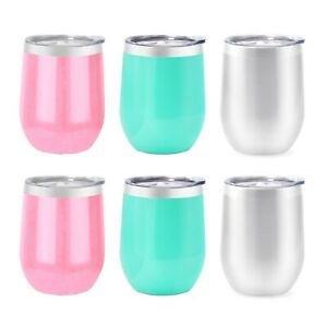 6 Pack 12 oz Stainless Steel Insulated Wine Tumbler with Lids Glasses Stemless