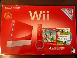 Nintendo Wii Limited Edition Red Console with Box 25th Anniversary