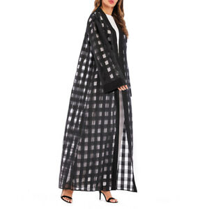 1pc Clothes Fashion Long Sleeve Gingham Loose Maxi Robe Clothes for Women Ladies