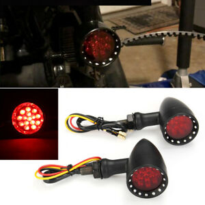 Bobber Cafe Motorcycle LED Black Bullet Red Brake Blinker Turn Signal Tail Light