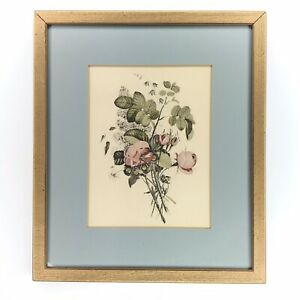 Antique Chromolithograph Floral Print Framed Small Wall Decor Botanical Roses $21.99
