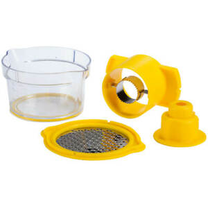 Cob Corn Stripper Kitchen Gadget with Built-In Measuring Cup and Grater, Yellow