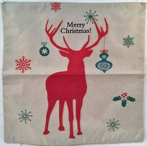 Christmas Reindeer Faux Burlap Cushion Cover Case Pillow Zippered Square New