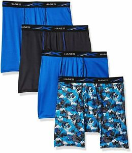 Hanes Men's Boxer Briefs X-Temp 4-Pack Performance Lightweight FreshIQ