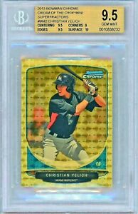 CHRISTIAN YELICH 2013 BOWMAN CHROME MINI SUPERFRACTOR RC SSP #11 BGS 9.5 POP: 1