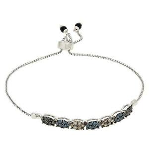 Sterling Silver 1.02ctw Multi Color Diamond Adjustable Bracelet