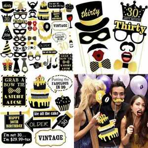 40Th Birthday Photo Booth Props 42Pcs For GOLD & BLACK Party Supplies Decoration