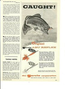 Vintage 1959 GARCIA ABU REFLEX Fishing Lures LARGEMOUTH BASS Art Ad