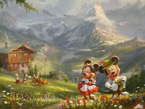 Thomas Kinkade Mickey and Minnie in the AlpsFramed canvas Disney SN 395